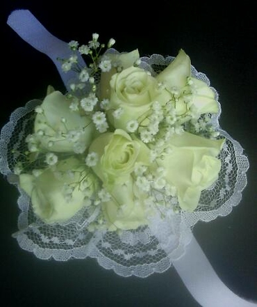 White Rose Wrist Corsage On Velcro Strap