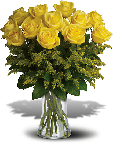 Rosy Glow Bouquet with 12 Yellow Roses